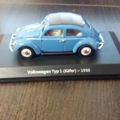 macheta volkswagen typ 1 (kafer) 1950 - atlas, 1/43, noua.