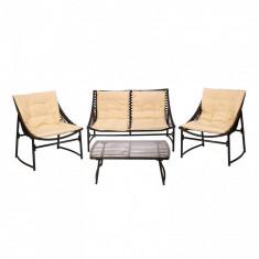 Set mobilier gradina-terasa Heinner Sydney, masa, canapea, 2 fotolii, maro/crem