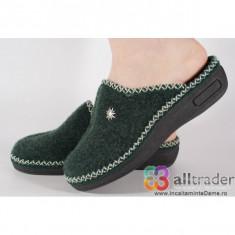 Papuci de casa verzi din lana dama/dame/femei (cod 191016)