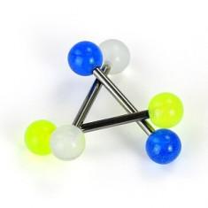 Piercing limbă titan - bilă în culori radiante - Culoare Piercing: Alb