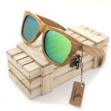 Ochelari de soare din lemn Bobo Bird AG007, lentila verde Wooden Lux