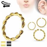Piercing pentru nas din oțel, cerc răsucit în spirală, culori diverse - Grosime x diametru: 1 mm x 10 mm, Culoare: Auriu