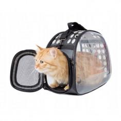 Geanta transport animale, talie mica, maner, curea de umar, pereti transparenti