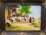 Tablou / Pictura Hora de la Aninoasa semnat Cimpoesu dupa Theodor Aman, Istorice, Ulei, Realism