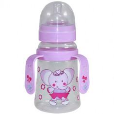 Biberon cu Doua Manere si Gat Larg Baby Care 250 ml Pink Elephant
