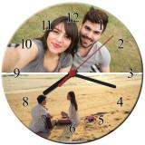 Ceas personalizat din sticla, model cu 2 poze, diametru 20 cm