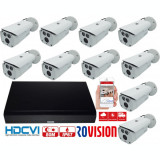 Kit supraveghere video profesional 10 camere Rovision 2MP IR 80m , DVR 16 canale 5MP, IP67 SafetyGuard Surveillance