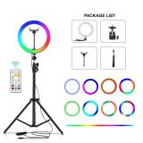 Lampa circulara RGB LED Ring Light, diametru 26 cm 10 inch LED + accesorii