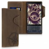 Husa pentru Blackberry Key2 LE, Piele naturala, Maro, 47726.01