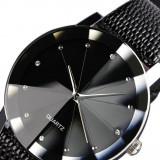Ceas de lux cu cadran cu diamante, din otel inoxidabil, mecanism cu Quartz, un ceas de mana cu bratara din piele, ceasuri pentru barbati, ceasuri mili