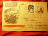 Plic FDC 1957 Polonia - Revolutia 1917 din Rusia , cu 2 val.