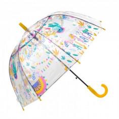 Umbrela pentru fete tip cupola, automata 70 cm Galben/Transparent