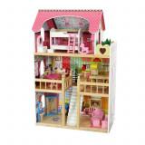 Jucarie tip casa mare din lemn pentru copii, pe 3 nivele cu 5 camere si accesorii, doua papusi, 59x33x90cm