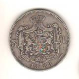 SV * Romania  *  5 LEI 1883  * ARGINT .835  * Regele Carol I      detalii bune !