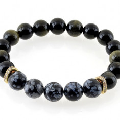 Bratara Power e-crystals - sfere 10mm - Obsidian si Zircon