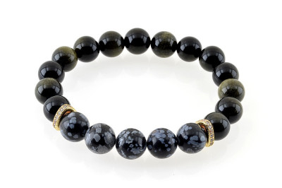 Bratara Power e-crystals - sfere 10mm - Obsidian si Zircon foto