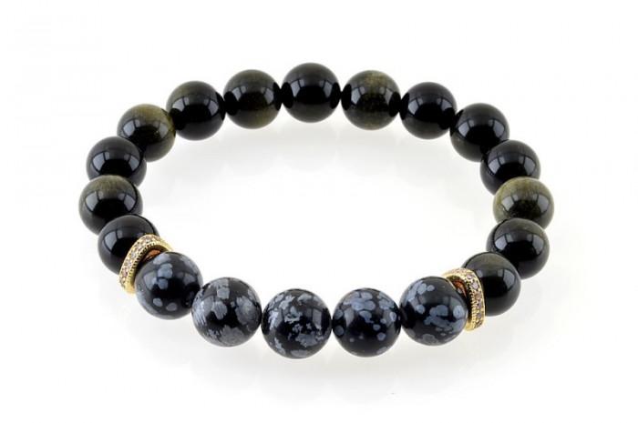 Bratara Power e-crystals - sfere 10mm - Obsidian si Zircon