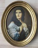 Tablou matase - decorativ / de colectie - rama de lemn - portret