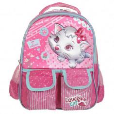 Ghiozdan fetite Lovely Cat, 30 cm, Roz