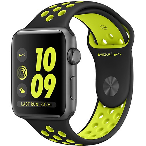 Watch 2 Nike+ Aluminiu Gri 38MM Si Curea Silicon Negru Verde