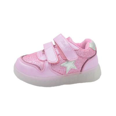 Pantofi sport cu led fetite Clibee F-731R, Roz foto