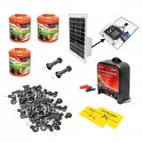 Kit complet gard electric 12V 3.5 Joule, lungime fir 1500m, panou solar 20W, baterie 12V/17Ah, 200 izolatori si maner poarta