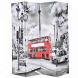 Paravan cameră pliabil, 160x170 cm, autobuz londonez, negru/alb, vidaXL