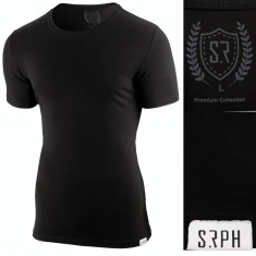 Tricou pentru barbati, negru, slim fit, elastic, casual - Premium, 3XL, L, M, S, XL, XXL