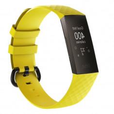 Curea Bratara Edman pentru Fitbit Charge 3, marimea L, Galben