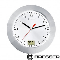 Ceas de perete cu termometru Bresser, cadran alb