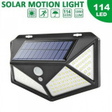 Lampa solara de perete cu senzor de lumina si miscare 114 LED, Oem