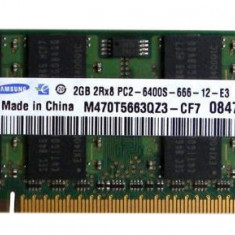 Memorii Laptop SODIMM Samsung 2GB DDR2 PC-6400S 800Mhz, 2 GB, 800 mhz
