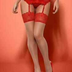 Ciorapi Cu Dantela Lovica, Rosu, L/XL
