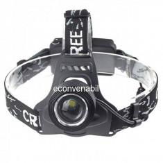 Lanterna Frontala LED 3W cu Zoom, Acumulatori 18650, 220V