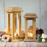 Set 2 Suporturi lumanare din lemn Merry 107, l12xA12xH30 / l12xA12xH25 cm