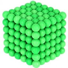 Joc Puzzle Antistres NeoCube cu Bile Magnetice 216 Bucati, Diametru Bile 5mm, verde fluorescent