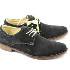 Pantofi gri barbati casual - eleganti din piele naturala intoarsa - Made in Romania