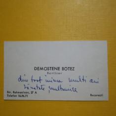 Cartea de vizită a scriitorului Demostene Botez cu dedicație