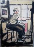 Corneliu Vasilescu acuarela pictura tablou semnat pictor, Portrete, Altul