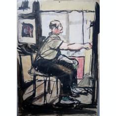 Corneliu Vasilescu acuarela pictura tablou semnat pictor