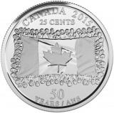 Canada 25 cent 2015 UNC Steag Aniversare, America de Nord