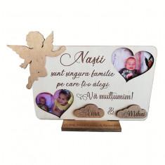 Rama foto cadou, mesaj personalizat pentru nasii de botez, 20×30 cm