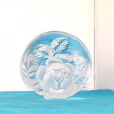 Sculptura cristal, intaglio - Trandafir - semnata Mats Jonasson, Maleras Suedia