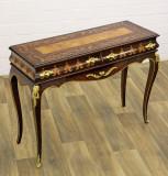 Consola Art Deco din lemn masiv furniruit cu decoratiuni  alama  CAT-CH15-C