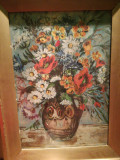 Tablou vechi Vaza cu flori, semnat, ulei placaj 32x46 cm, rama frumoasa, sticla, Realism