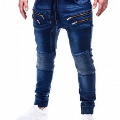 Blugi pentru barbati albastri cu siret elastici slim fit cu buzunare decorative P405