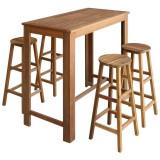 Set masă și scaune de bar, 5 piese, lemn masiv de acacia