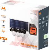 Kit Iluminare LED cu Incarcare Solara 3 Becuri si Port USB.