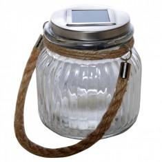 Lampa solara, tip borcan, 11×10 cm, material sticla