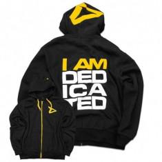 Hanorac I am Dedicated, negru cu galben